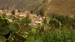 andean village in peru near cusco with typical adobe houses stock