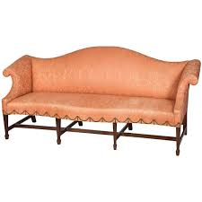 mahogany chippendale camelback sofa with bowed seat and spade feet