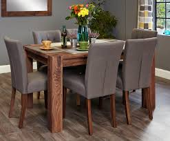 mayan walnut 6 seater dining table set slate flare back