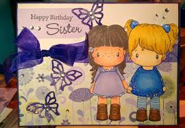 lovely animated birthday cards design for sister with girls and