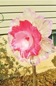 Glass Garden Decor Vintage Glass Garden Art Plate Flower Glass Art By Adelicatetouch1