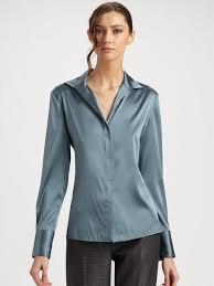 womens silk blouses lyst armani silk charmeuse blouse in blue