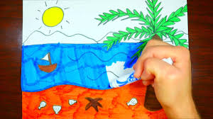 how to draw beach scenery kids coloring page youtube