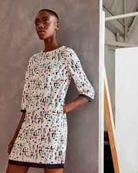 printed shift dress ivory dresses ted baker uk