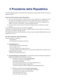 convocazione consiglio dei ministri appunti sul presidente della repubblica docsity