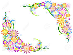 colours flowers with floral ornaments motif stock photo