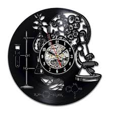 biology chemistry science circle vinyl wall clock art home decor