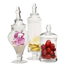 amazon com designer clear glass apothecary jars 3 piece set