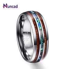 rings wedding men images Nuncad 8mm hawaiian koa wood and abalone shell tungsten carbide jpg