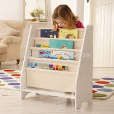 5 level tier wooden childrens canvas bookcase display view wooden