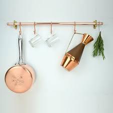 handmade copper pot and pan rail pan organizer kitchen