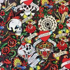 ed hardy true skulls tattoos biker tough tiger cotton quilt