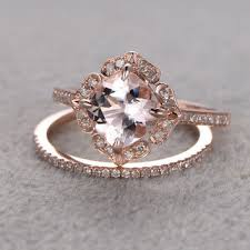 art deco rose gold engagement rings wedding promise diamond
