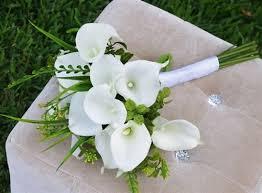 silk bridal bouquet touch callas and green sprays garden bridal bouquet silk