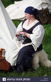 a lady in 17th century costume as part of a historical re