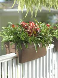 exterior cute exterior using deck rail planters with variant flowers