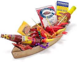 mardi gras gifts pirogue gift basket or centerpiece hot sauce crawfish and more