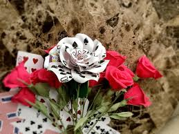 Valentines Flowers - playing card flower paper flower poker party vegas poker