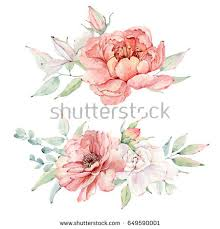 Wedding Design Watercolor Flowers Set Perfect Greeting Cards Stock Illustration