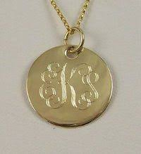 monogram pendants gold monogram necklace 7 8 14k gold filled disc personalized and