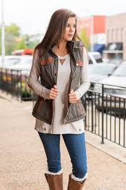 puffy leather accent safari vest olive the mint julep boutique