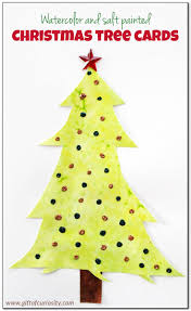 watercolor and salt painted christmas tree cards gift of curiosity