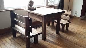 Primitive Kitchen Table by Childrens Rustic Primitive Table Bench Set Kitchen Farm House