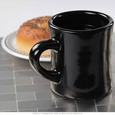 diner coffee mug heavy duty black ceramic restaurant quality