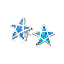 blue opal earrings 925 silver blue synthetic opal nautical starfish stud earrings
