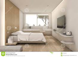 3d rendering nice minimal bedroom with tv and pouf stock