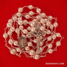 pearl rosary miraculous medal freshwater pearl rosary wire wrapped in sterling