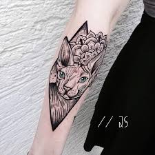 stunning animal tattoos blended with geometric shapes by jessica