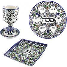 complete armenian ceramic seder set judaica mall