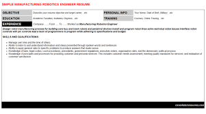 manufacturing robotics engineer cover letter u0026 resume