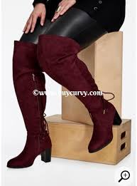 s boots plus size calf wine wide calf thigh high boots with heel curvy boutique