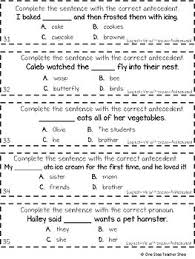 grade subject verb agreement and pronoun antecedent agreement game