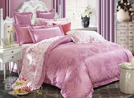 Lilac Bedding Sets Lilac Big Peonies Crown Jacquard 4 Bamboo Fabric Bedding Set
