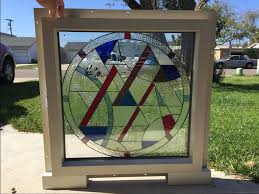 stained glass home decor buy a hand crafted stunning white or tan vinyl framed beveled