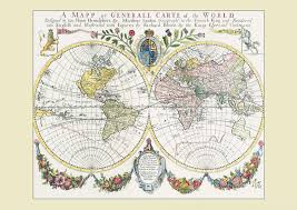Double Map Vintage French Double Hemisphere World Map C1700