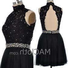 macloth women high neck black lace tulle short prom dress with open ba