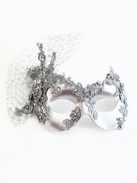 silver masquerade masks handmade silver beaded lace mask