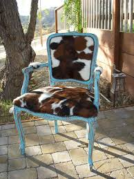 Cowhide Chairs And Ottomans Made To Order Western Chic Turquoise And Cowhide Victorian Chair