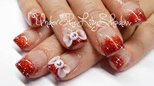 underthelilyshadow how to acrylic nails 3d bow and red sparkles