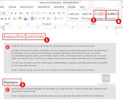 How To Do A Table Of Contents How To Create Table Of Contents In Word 2013 Toc Office