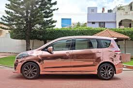 rose gold aston martin maruti suzuki ertiga modified kitup rose gold wrap rear side