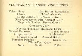 a 1904 vegetarian thanksgiving dinner inside science
