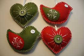 felt christmas ornaments christmas felt ornaments birds hearts georgenruby etsy tierra