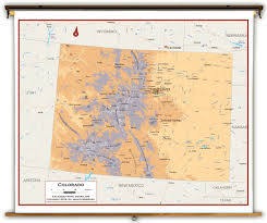 colorado physical map colorado state physical classroom map from academia maps