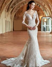 fit and flare wedding dress 2017 bridal gown sleeves the shoulder plunging v