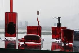 red bathroom accessories interior design